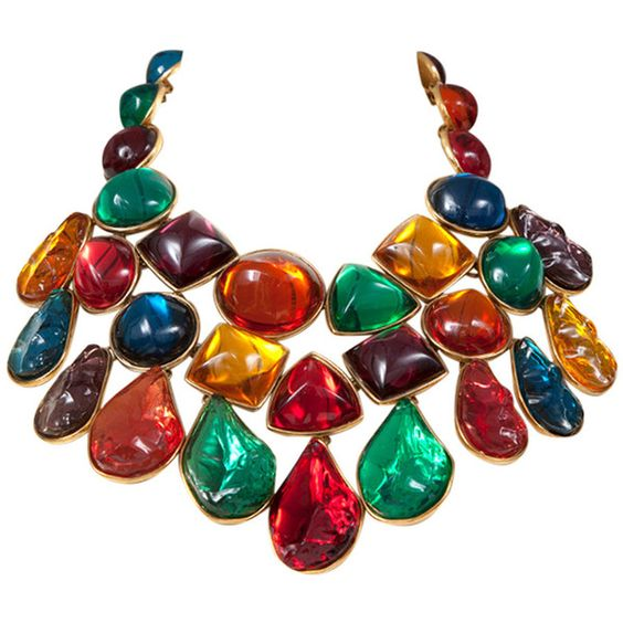Pre-owned Yves Saint Laurent Giant Jeweled Bib Necklace ($3,200) ❤ liked on Polyvore featuring jewelry, necklaces, multi-strand necklaces, adjustable necklace, cabochon necklace, long multi strand necklace, pandora jewelry and multi color necklace