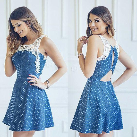 Preparem-se para o azul e para o jeans. Vestido de poá já do preview verão16 @donnaritzoficial apaixonante! #previewverao16 #blogtrendalert