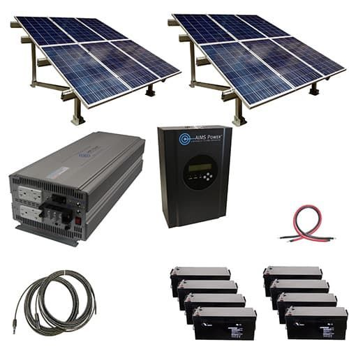 2880 Watt Off Grid Solar Kit With Solar Rack And 5000 Watt Power Inverter 48 Volt With Images Solar Panels Solar Kit Off Grid Solar