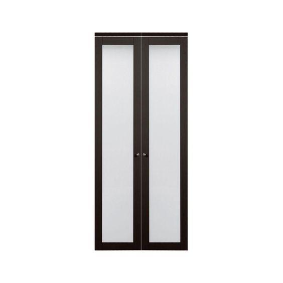 Truporte 36 In X 80 In 3030 Series 1 Lite Tempered Frosted Glass Espresso Composite Interior Closet Bi Fold Door 247238 Painted Interior Doors Sliding Closet Doors Closet Doors