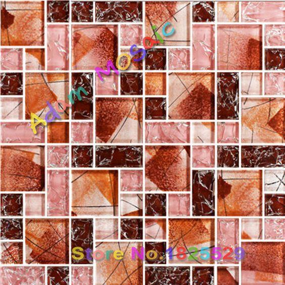 Pittura muro di piastrelle da bagno rosso fogli specchio piastrelle smerigliato backsplash cucina piastrelle di mosaico di vetro crackle metropolitana interni deco