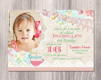 Shabby Chic Birthday Invitation Princess por StyleswithCharm