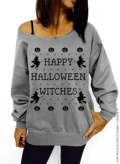 """happy halloween witches"" off the shoulder sweater:"