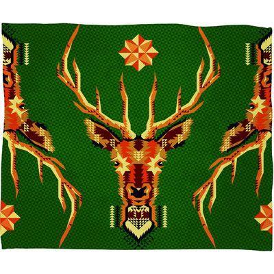 DENY Designs Chobopop Geometric Deer Plush Fleece Throw Blanket Size:
