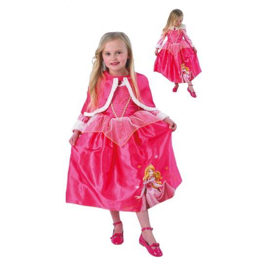 Doornroosje kostuum met cape voor meisjes. Dit Doornroosje kostuum voor kinderen bestaat uit een roze jurk met lange mouwen en een afbeelding van Doornroosje en een roze cape pluche witte rand. Carnavalskleding 2015 #carnaval