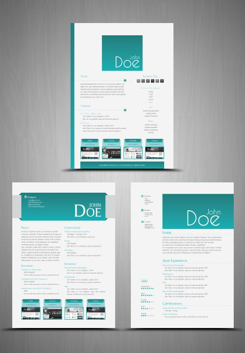 3 CV\/Resumes Templates Clean \ Elegant Design Inspo Pinterest - adobe indesign resume template