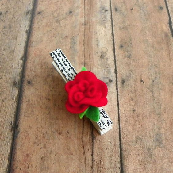 Felt Flower with French Script on Wooden Clip by PaisleyMoose