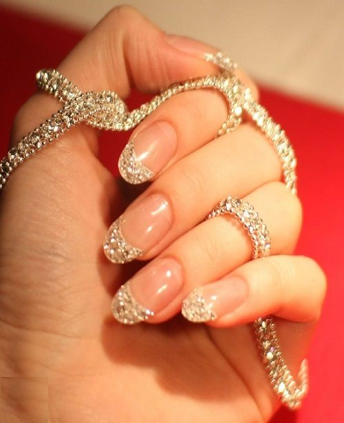 Sparkling #Silver and #Nude #NailArt Design