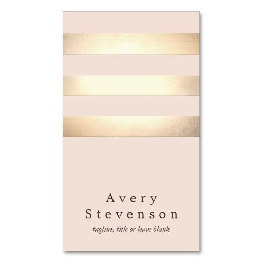 Elegant Faux Gold Foil Striped Modern Light Pink Double-Sided Standard Business Cards (Pack Of 100)
