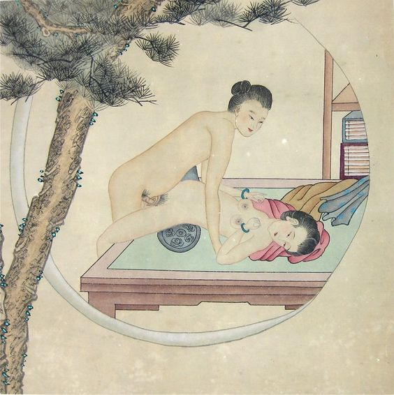 water colour and ink circa 1900 An exquisite expression of the smiling beauty of love.