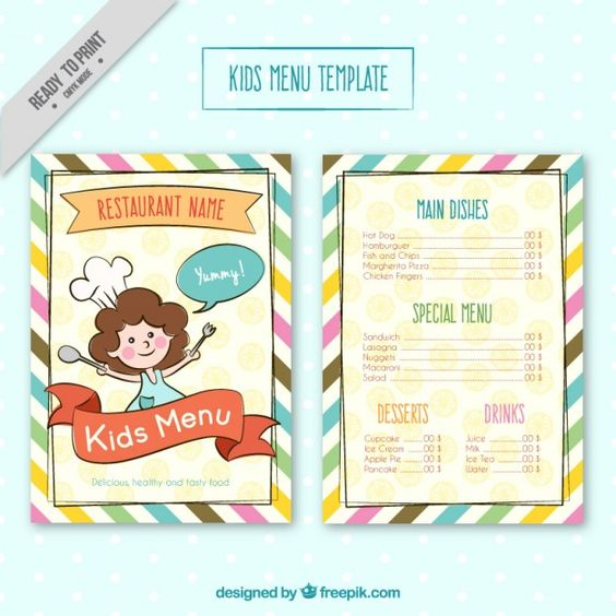 special kids menu with food characters Free Vector Mise en page - free kids menu templates