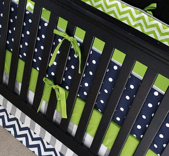 Custom crib bedding lime green chevron navy blue by - Navy blue and green bedding ...