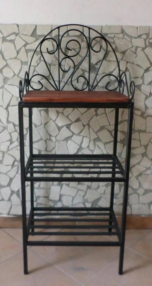 dettagli su scaffale libreria etagere in ferro battuto rustico country arte povera rustici country. Black Bedroom Furniture Sets. Home Design Ideas