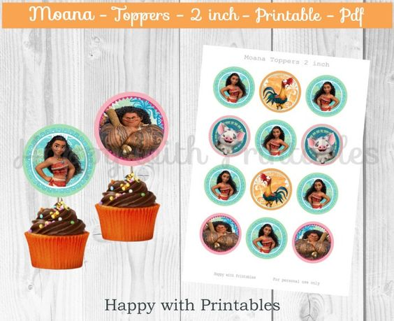 ... Princess Moana 2 inch topper - Moana printable - Maui by Happ