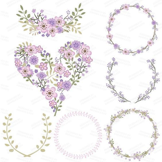 Premium Floral Clip Art & Vectors Lavender Wedding by AmandaIlkov