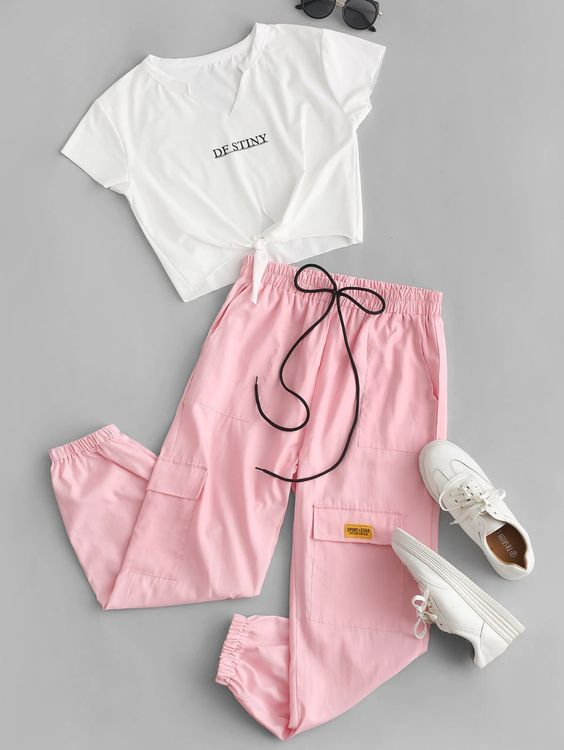 Summer Casual Girls Two-piece Outfit Striped Short Sleeve T-shirt Trousers Sets
