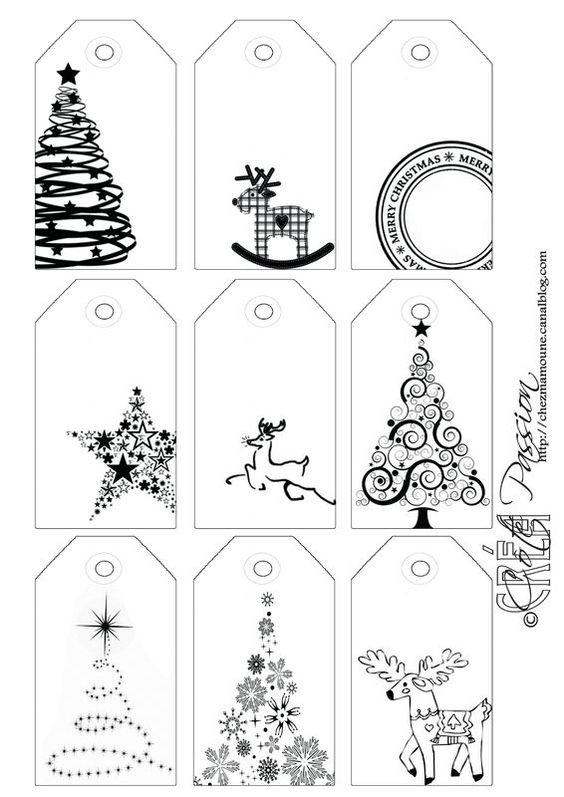 Côté Passion 9 tag BW Christmas étiquettes de Noël::