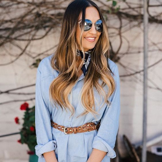 Get spring ready in a belted chambray shirtdress and statement shades ala @oliamajd | Shop her look with www.LIKEtoKNOW.it | www.liketk.it/2d9eD #liketkit