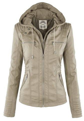 Detachable Hooded Faux Leather Jacket | Jackets for women Cheap