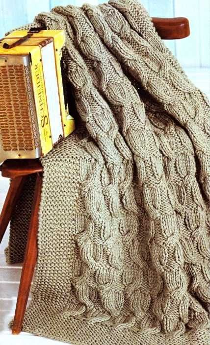 cable knit throw in light neutral color
