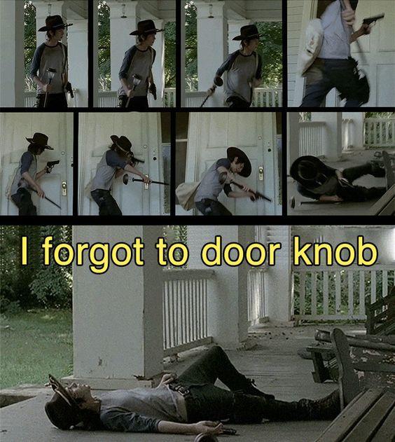 Carl Grimes Meme | forgot to door knob meme Carl Walking Dead After 4x09 Imgur
