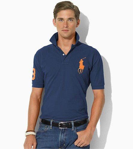 Ralph Lauren Men\u0026#39;s Classic-Fit Big Pony Short Sleeve Polo Shirt Newport Navy / Orange