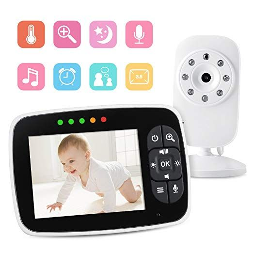 Video Baby Monitor 3 5 Large Lcd Screen Display With Night Vision Camera Two Way Talk Audio Temperature Sensor Eco Mode Lullabies And Long Transm