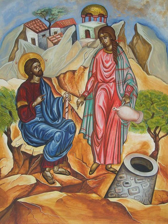 Christ with St. Photini (the Samaritan Woman at the well by Emmanouela Kakavia: