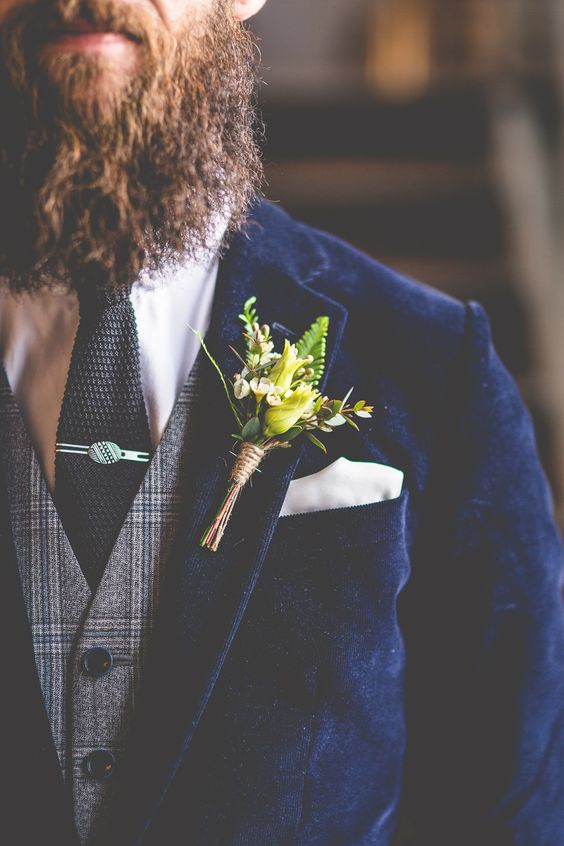 Groom wearing velvet jacket with tweed waistcoat. Groomswear wedding inspiration Buttonhole by Lily & May Florist  Image by Love That Smile Photography