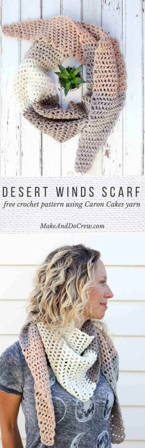 Toss on this modern crochet triangle scarf to head out to the desert, the mountains...or just the grocery store. This free Caron Cakes crochet pattern takes all the stress out of choosing colors because the skein does it for you! It's a perfect one skein crochet project! Color pictured = Buttercream.: