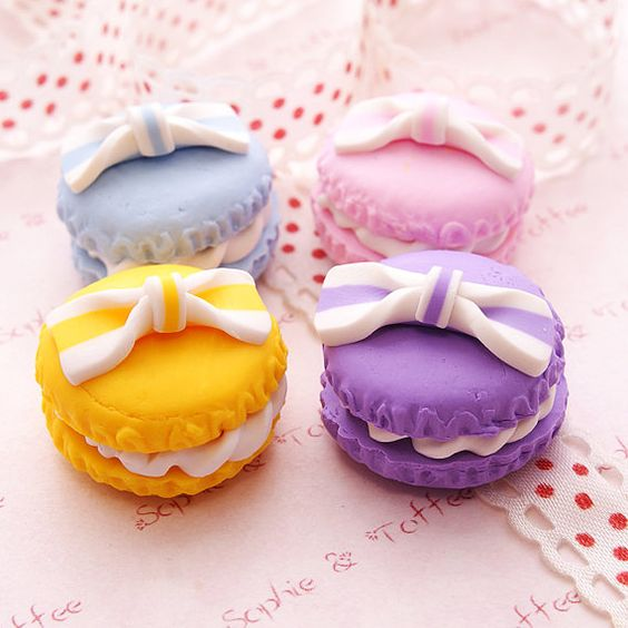 Sweets Deco Decoden Kawaii Polymer Clay Charm Lolita Round Macaroon Assorted Set (4pcs) CAS406