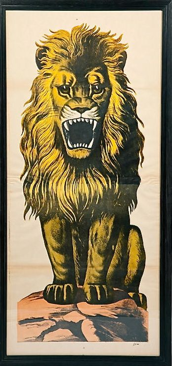 """life sized"" early 20th century lion poster; may have been originally used for target skill games--the lion's mouth was cut out to create an opening into which paper balls could be tossed"