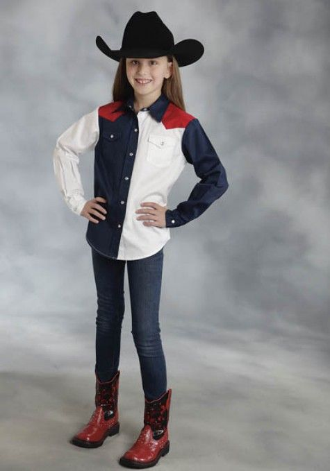 Roper® Girls Red, White & Blue Colorblocked Long Sleeve Snap Cowgirl Shirt
