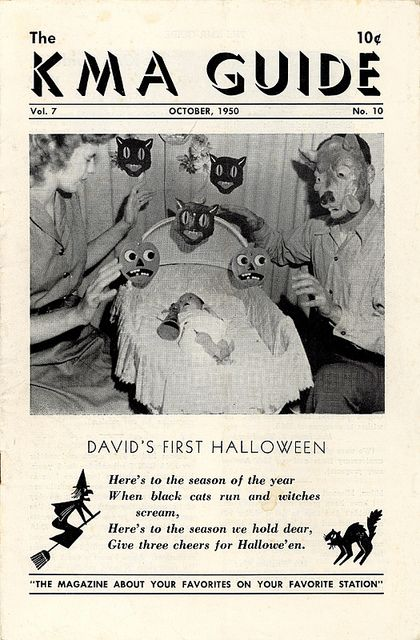 "Vintage Halloween Magazine ~ The KMA Guide ©October, 1950 (""David's First Halloween"". I'm thinking poor David needed a few years of therapy after this photo shoot. lol)"
