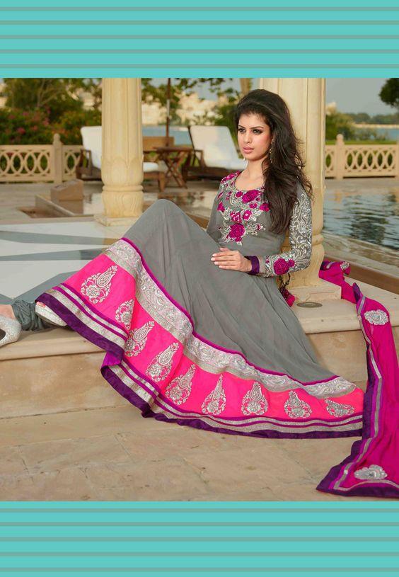 Grey Faux Georgette Anarkali Churidar Kameez: KCR4923