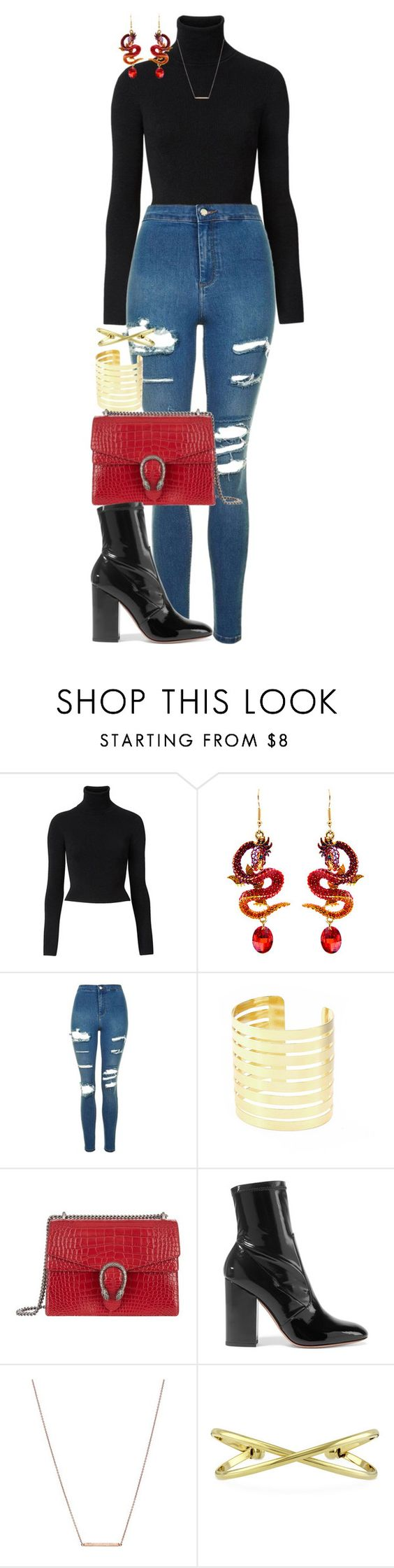 """""""By the pricking of my thumbs,  Something wicked this way comes."""" by quiche ❤ liked on Polyvore featuring Witchery, Topshop, Gucci, Valentino, Bungalow 20 and BERRICLE"""