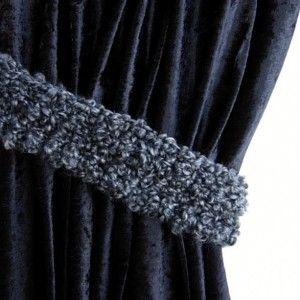Black Dark Gray Curtain Tiebacks One Pair Of Soft Thick Tie