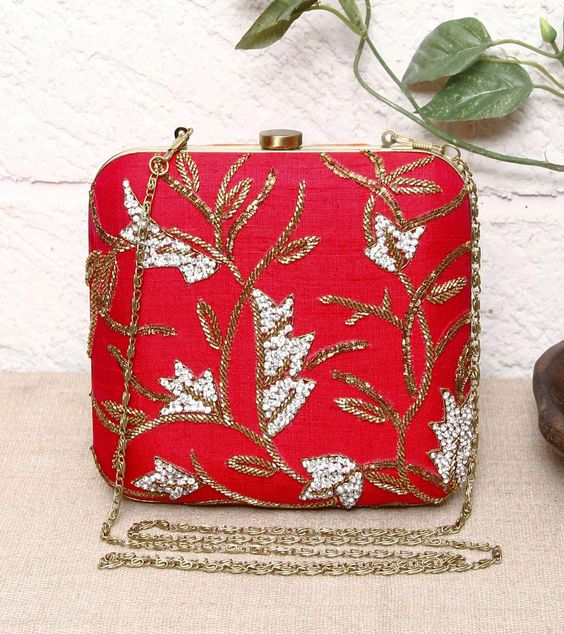 Red Embroidered Metal & Silk Clutch=Inayat $ 168