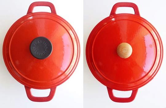 replace le creuset metal knob with wood