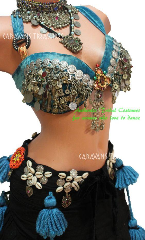 Turquoise Guchi Gypsy Belly Dance Bra and Belt SET Bra