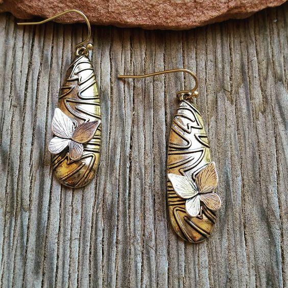 Gold Teardrop Butterfly Earrings