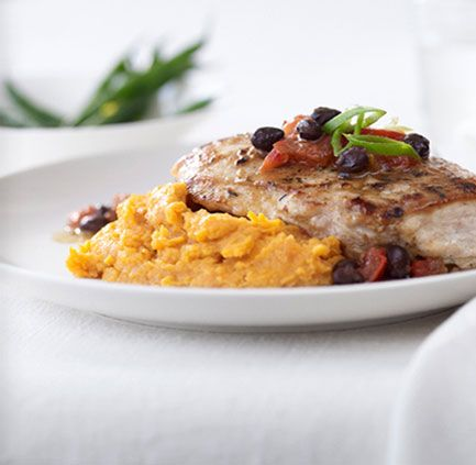 Jamaican Chicken with Mashed Sweet Potatoes
