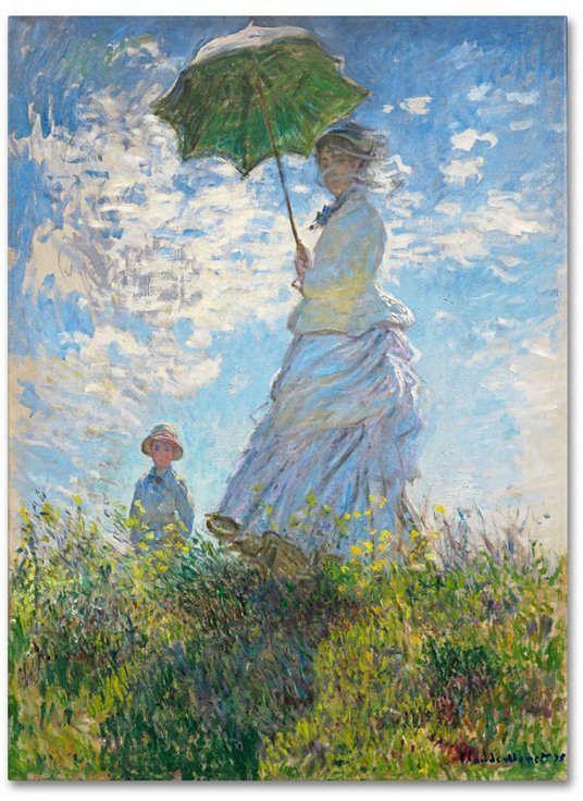 Claude Monet Woman with a Parasol Stampa su tela Canvas effetto dipinto