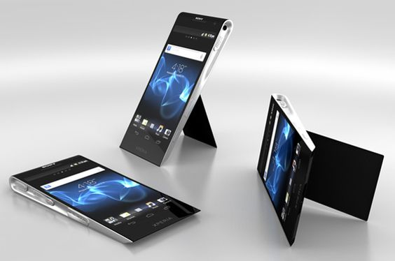 This is the Sony Xperia X Concept. It is a high-end phone inspired by the first generation S tablet. The curved shape at the top and supporting internal curves on the sides offer a better grip. The back has a flipstand that opens and supports the phone, especially when you need to navigate the smartphone vertically or view a panoramic videos. The Xperia logo on the front works as an illuminator of notifications that adopts a different color for each application.