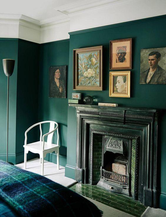 Dark Green Design Dreamy Lush Verdant Spaces I D Copy Right Now Dark Green Living Room Gothic Living Rooms Victorian Living Room