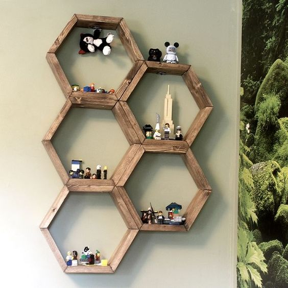 make honeycomb hexagon display shelves, bedroom ideas, diy, how to, wall decor, woodworking projects