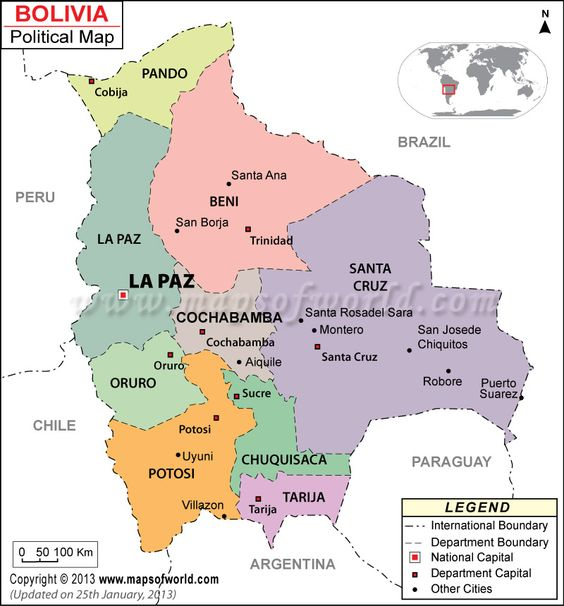 This map shows the major cities in Bolivia. Bolivia has nine provinces.