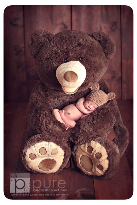 Newborn photography. If you have your own bear you could you this in your little ones yearly pictures to watch how they grow!: