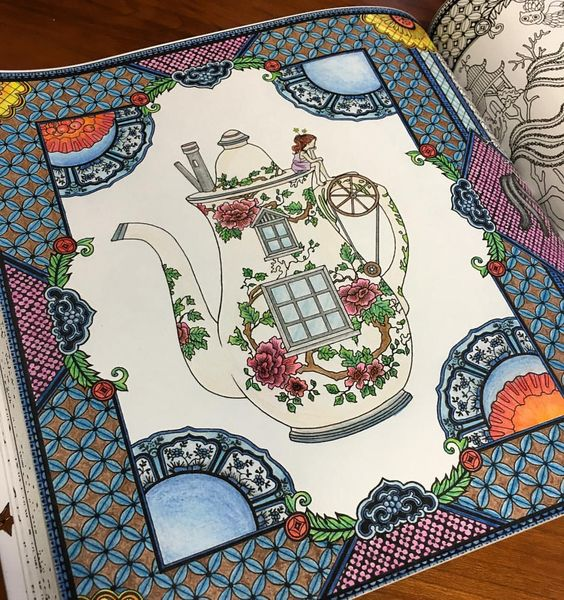 Finished my first page of coloring book! It's so fun but my fingers are about to break lol #adultcoloringbook #thetimechamber