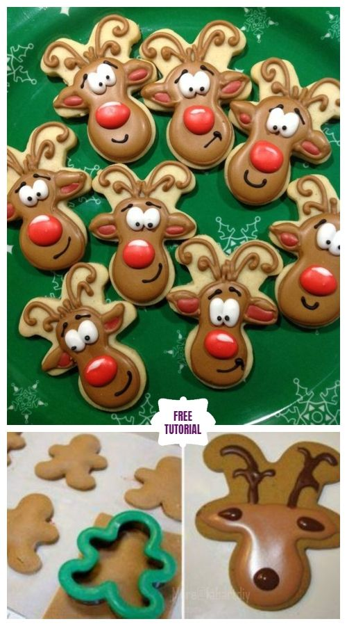 Diy Christmas Gingerbread Reindeer Cookies Easy Tutorial Reindeer Cookies Christmas Cookies Decorated Reindeer Cookies Decorated